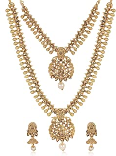 Shining Diva Fashion 18k Gold Plated Stylish Necklace Set for Women Wedding Traditional Jewellery Set for Women