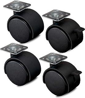 Nirox 4x ruedas para muebles 50mm - Ruedas giratorias con freno giro de 360 grados - Ruedas de transporte altura total de 60mm - Ruedas pivotantes hasta 120kg