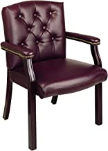 Office Star Padded Vinyl Traditional Visitors Chair with Padded Arms and Nailhead Accents, Jamestown