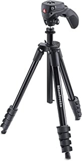 Manfrotto MKCOMPACTACN-BK Compact Action Tripod (Black) (Renewed)