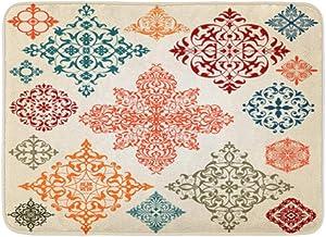 Bath Mat Flannelette Fabric Soft Absorbent Ornate Floral Pattern Arabesque Flower Cozy Decorative Non-Slip Memory Bathroom...