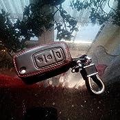 Happyit Echtes Leder Gefaltete Schlüsselhülle Für Ford Neue Fiesta Ecosport Focus 2 Mk2 2012 2013 2014 2015 2016 Mit Schlüsselbund Schwarz Auto