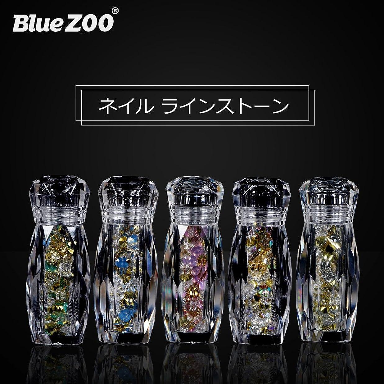 ミスペンド逆にワゴンBlueZOO (ブルーズー) 5本/セット クリスタルボトル マルチサイズ ネイルアクセサリー + Vカットダイヤモンド + ジェムサークル + タイニービーズ