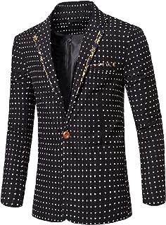 Men's Business Notched Collar Polka Dot Button Jacket Blazer Coat