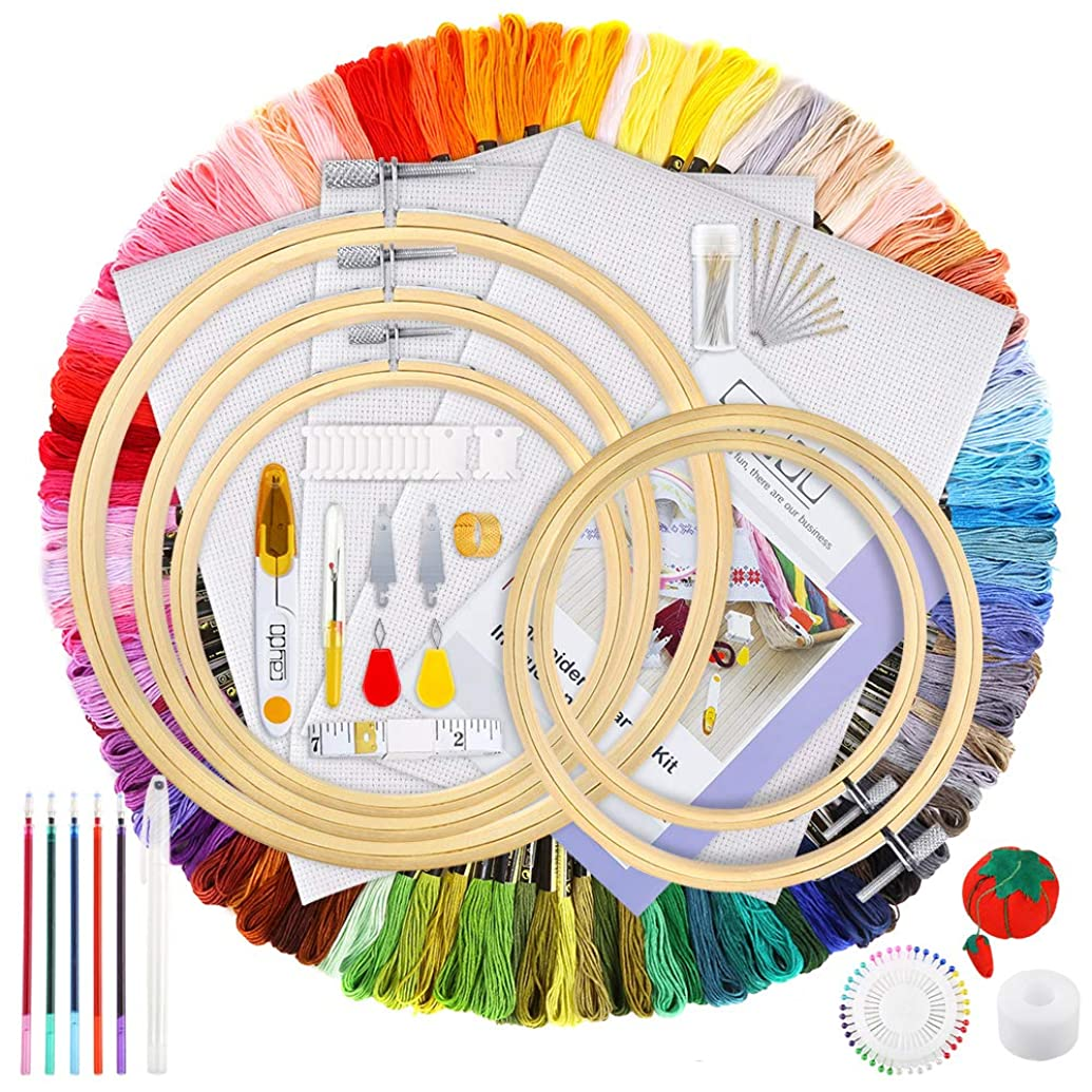 Caydo 205 Pieces Full Range of Embroidery Starter Kit Including Instructions, 5 Pieces Bamboo Embroidery Hoops, 100 Color Threads, 3 Pieces Aida Cloth, Cross Stitch Tools Kit for Beginners Sewing