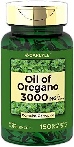 Oregano Oil 3000 mg 150 Softgel Capsules | Contains Carvacrol | Non-GMO & Gluten Free | Oil of Oregano Pills by Carlyle product image