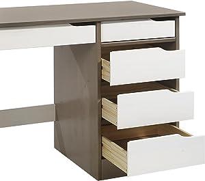 IDIMEX Bureau Hugo avec Rangement 5 tiroirs Style scandinave en pin Massif lasuré Taupe et Blanc