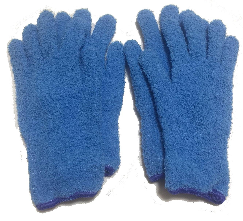 しつけ画面学者手袋タオル 日本製 ヘアドライ 手袋 マイクロファイバーグローブ 即乾 吸水 髪 ドライヤータオル ふわふわ 柔らか【Art.アートドット】 (4枚, ブルー)