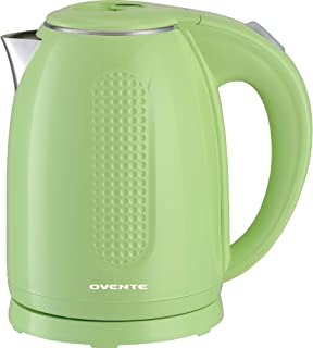 Ovente BPA-Free Cordless Electric Kettle with Auto Shut-Off, Double-Walled Stainless Steel, 1100W, 1.7L, Green (KD64G) (Re...