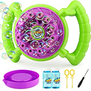 Growsland Bubble Machine for Kids Toddlers Boys Girls Handheld Bubble Blower Bubble Toys with 2 Bubbles Solution Summer Outdoor Toys Fun Bubbles Game for Kids Birthday Parties ,Wedding Gift