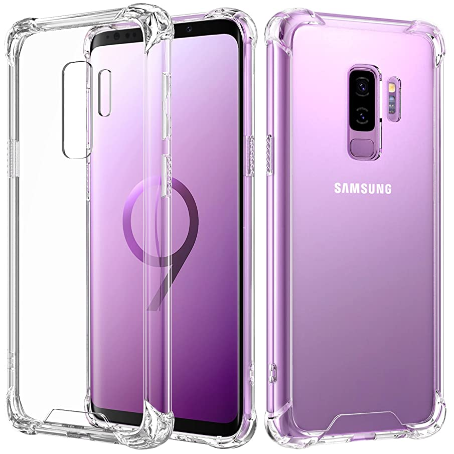 MoKo Cover Compatible for Samsung Galaxy S9 Plus Case, Reinforced Corners TPU Bumper Cushion + Anti-Scratch Hybrid Rugged Transparent Panel Cover for Samsung Galaxy S9+ 6.2 Inch 2018 - Transparent