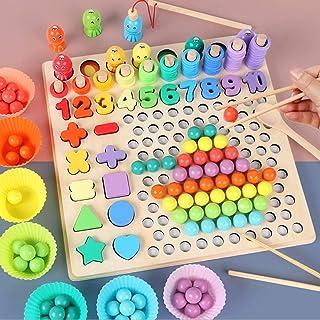 Coriver - Coriver Montessori Juguete educativo, rompecabezas de madera 13 en 1, palos de educación temprana, rompecabezas con cuentas, juego de pesca magnético, manos para niños, ojos, entrenamiento cerebral