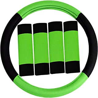 FH Group FH2033GREEN-AVC Green/Black Steering Wheel Cover (Modernistic and Seat Belt Pads Combo Set
