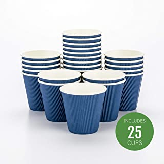 Disposable Paper Hot Cups - 25ct - Hot Beverage Cups, Paper Tea Cup - 8 oz - Midnight Blue - Ripple Wall, No Need For Sleeves - Insulated - Wholesale - Takeout Coffee Cup - Restaurantware