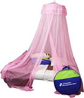 Classic Mosquito Net, Hanging Double Bed, Polyester Foldable - Pink