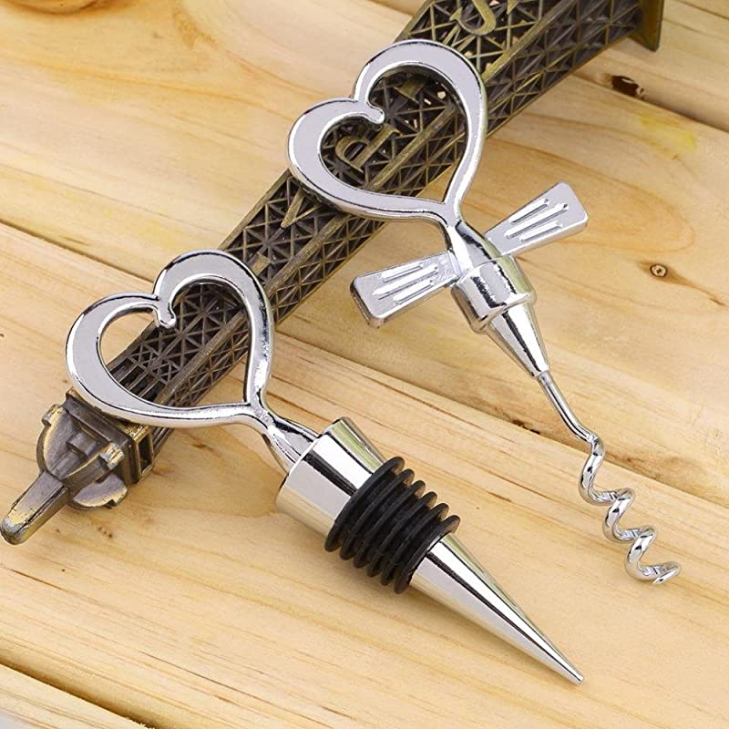 Love Chrome Love Design Heart Shape Wine And Beverage Bottle Stoppers And Corkscrew Silver