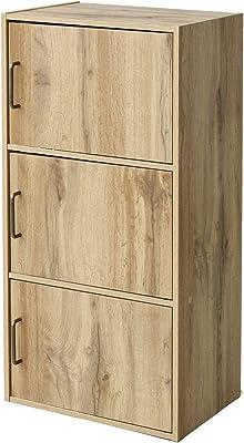 [山善] カラーボックス (扉付き) 3段 幅42×奥行29×高さ88.5cm 本棚 収納棚 洗面所棚 食器棚 組立品 オーク TCB3OAK3D