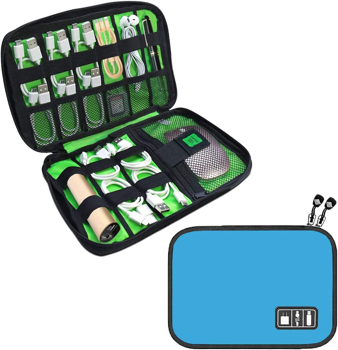 Cable Organizer Bag JBOS Accessories Organizer Travel Cable Storage Bag Gadget Organizer Bag Double Layer Electronics Organizer Case for Cables, USB Flash Drive, SD Cards (Blue)