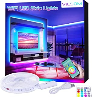 ViLSOM Smart LED Strip Lights, USB LED TV Backlight with Voice APP Controller, RGB Color Changing LED Light Strip for Room Decor, Compatible with Alexa, Google Home, iOS and Android, 6.56ft