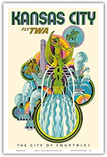 Kansas City - Fly TWA (Trans World Airlines) - The City of Fountains - Vintage Airline Travel Poster by David Klein c.1960s - Master Art Print - 12in x 18in