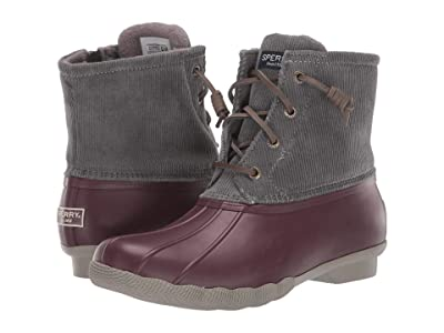 Sperry Saltwater Corduroy (Grey/Wine) Women