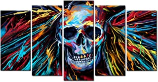 Welmeco Large 5 Pieces Abstract Skull Canvas Wall Art Colorful Sugar Skull Painting Picture Framed and Stretched Poster Pr...