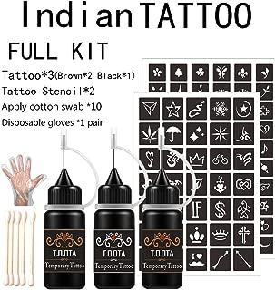 Temporary Tattoo kit 3 Bottles 1.5 oz Semi-permanent Tattoo (Black1 Brown2) Natural & Lasting Jagua Gel/Ink 95 Tattoo Painting Stencils 10 Cotton Swabs & 1 Pair Disposable Gloves