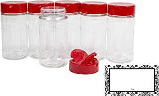 BAIRE BOTTLES - 8 oz CLEAR PLASTIC SPICE JARS, 6 Pack, Red Flapper Lid, Sifter Shaker Holes and Pour Open Sides,