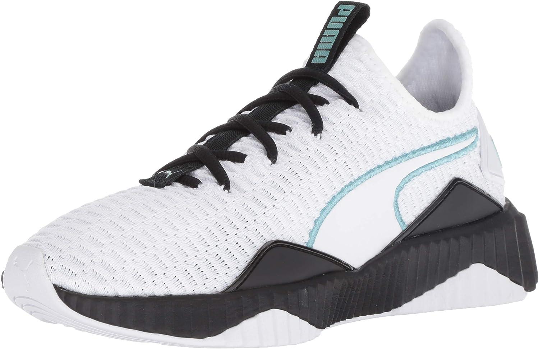 PUMA Girl's DEFY Shoe, White Black-Aquifer