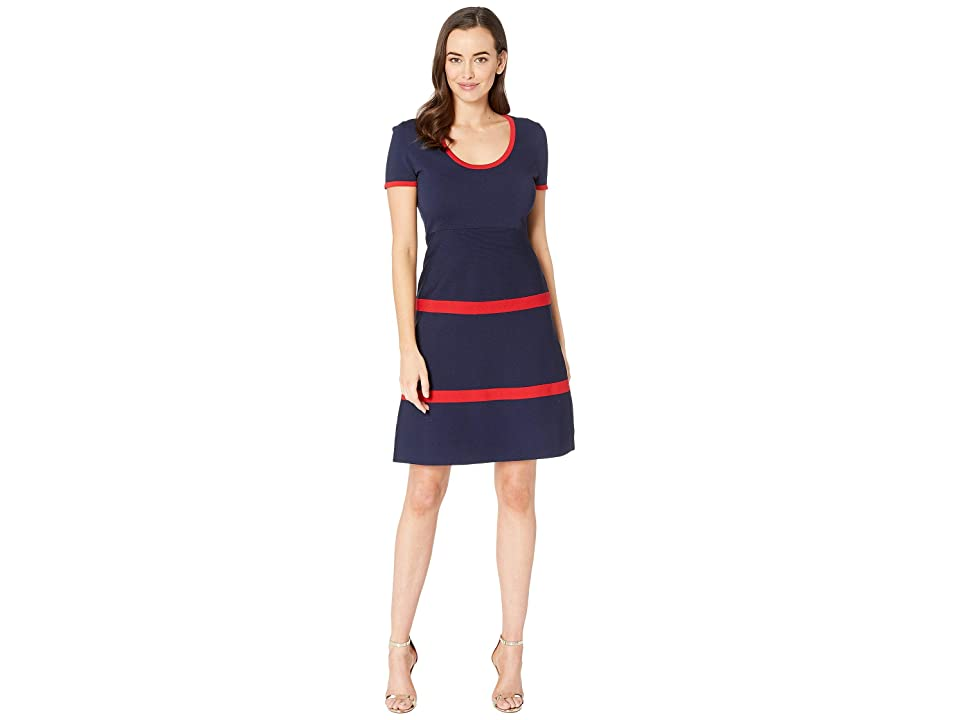 Anne Klein Color Block Fit Flare Sweater Dress (Marine Blue/Marine Red Combo/Red) Women