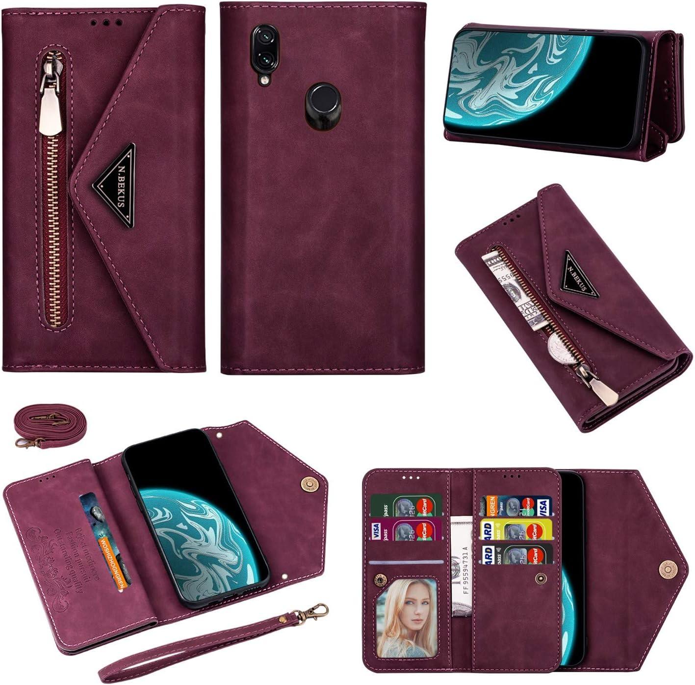 nicht f/ür Redmi 7 Vepbk Brieftasche H/ülle f/ür Xiaomi Redmi Note 7 Handyh/ülle Handytasche Case H/ülle Leder Geldb/örse Tasche mit Rei/ßverschluss Kartenfach Umh/ängeband Wallet Cover Klapph/ülle,Blau