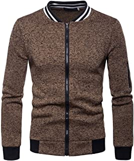 ANJUNIE Mens Zipper Jacket with Pocket, Plain Winter Outwear Cardigan Pea Coat Parkas Sweater