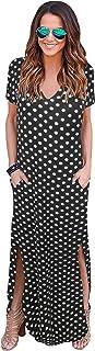 Sakaly Women's Plain Black Dot Loose Pocket Long Dress Short Sleeve Split Maxi Dresses SK318