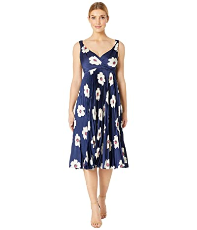 Maggy London Flat Flower Printed Charmeuse Fit and Flare (Navy/Ivory) Women