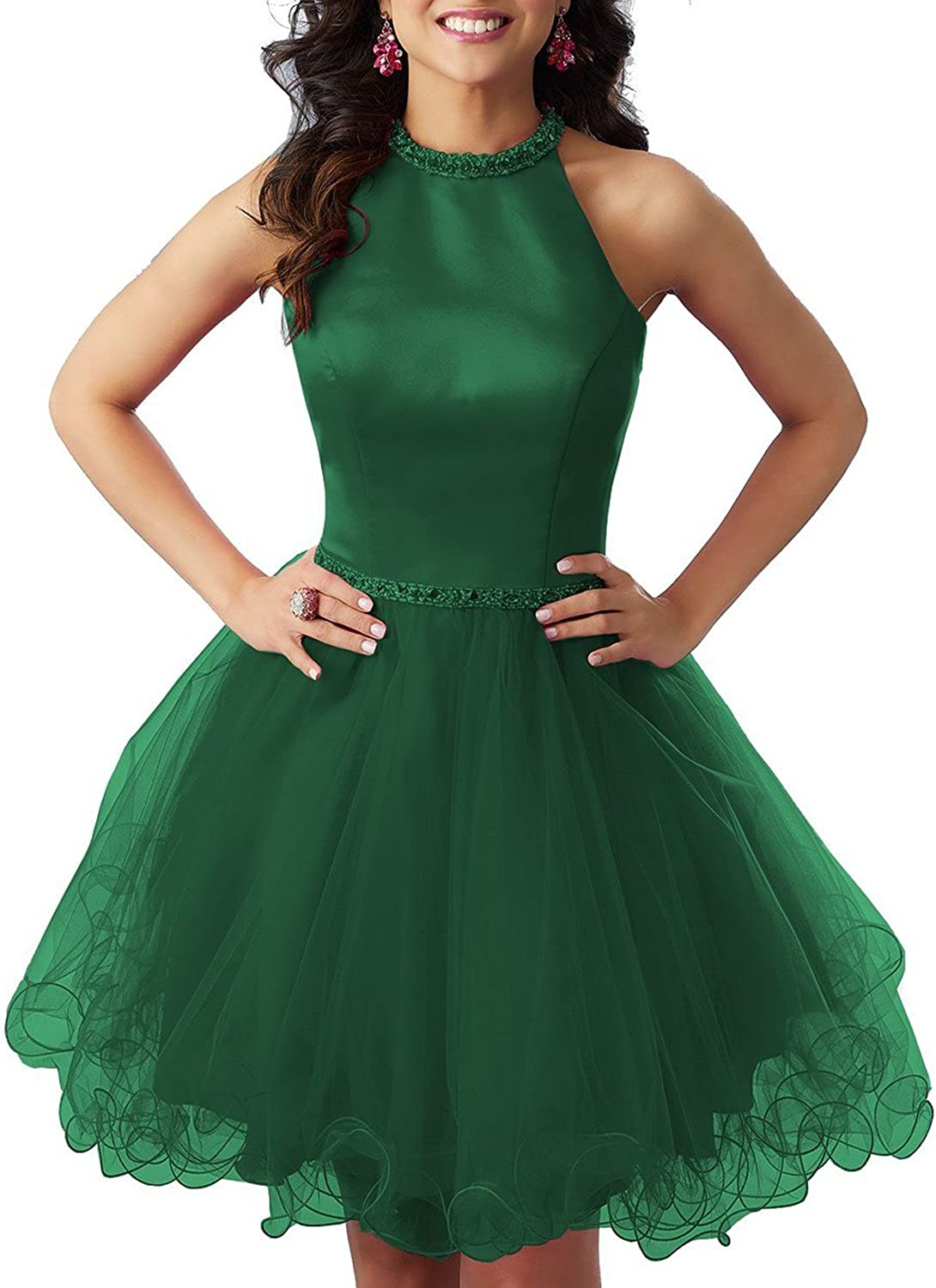JQLD Women's High Neck Beaded Satin Homecoming Dress Short Evening Party Gown Tulle Skirt
