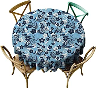StarsART Table Cover Home Decoration Floral,Daisies Roses Flowers in Modern Design with Leaves and Buds Image Print,Indigo Light Blue White D54,for Umbrella Table