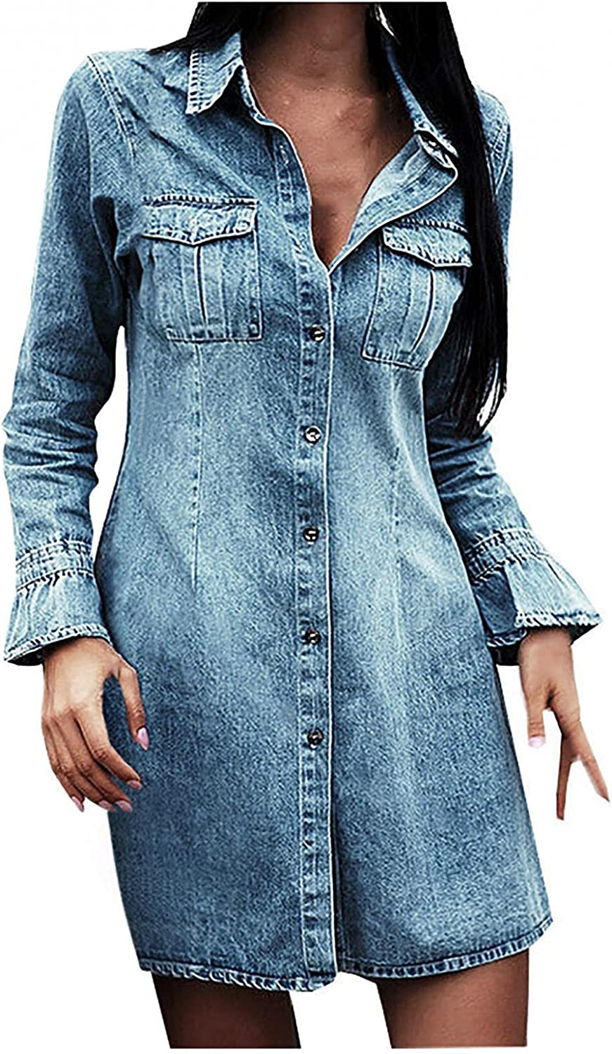 Denim Shirt Dresses for Women Long Sleeve Flared Sleeves Jean Dress Button Down Casual Tunic Top Sexy Midi Dress