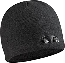 POWERCAP LED Beanie Cap 35/55 Ultra-Bright Hands Free LED Lighted Battery Powered Headlamp Hat - Knit Black (KB-6892)