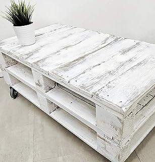 Dydaya Mesa de Centro Vintage Blanca echa con Madera de Palets & Pale - Mesas auxiliares Bajas & pequeñas - Muebles Blanca...