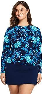 Women's Plus Size Long Sleeve Swim Tee Rash Guard Print