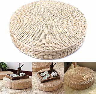 MOOUS Woven Straw Seat Cushion Pad Handmade Straw Round Tatami Yoga Floor Seat Pillow Cushions Breathable Japanese Tatami Floor Pillow Meditation Pillow for Home(40cm x 6 cm)