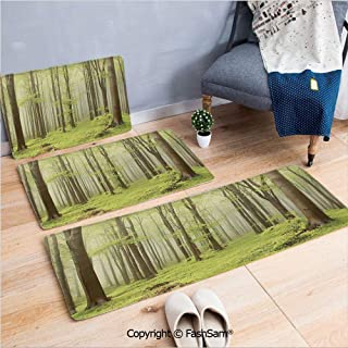 3 Piece Non Slip Flannel Door Mat Misty Spring Beech Forest in the Mountains of Central Europe Wilderness Nature Picture Indoor Carpet for bath Kitchen(W15.7xL23.6 by W19.6xL31.5 by W31.4xL47.2)