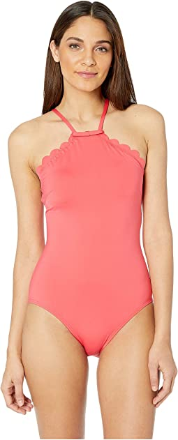 Core Solids #79 Scalloped High Neck One-Piece w/ Removable Soft Cups