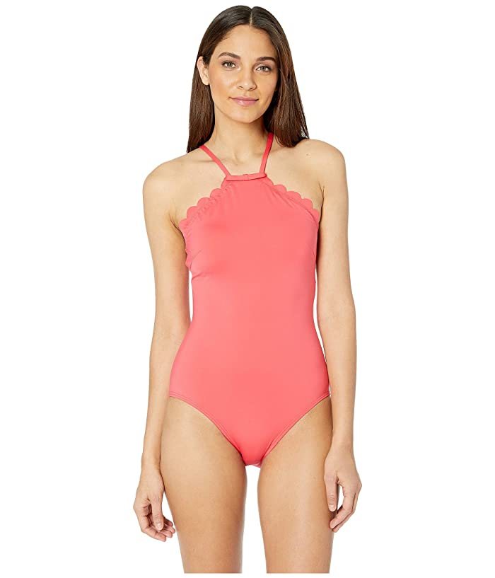 Kate Spade New York Core Solids #79 Scalloped High Neck One-Piece w/ Removable Soft Cups (Peach Sherbet) Women