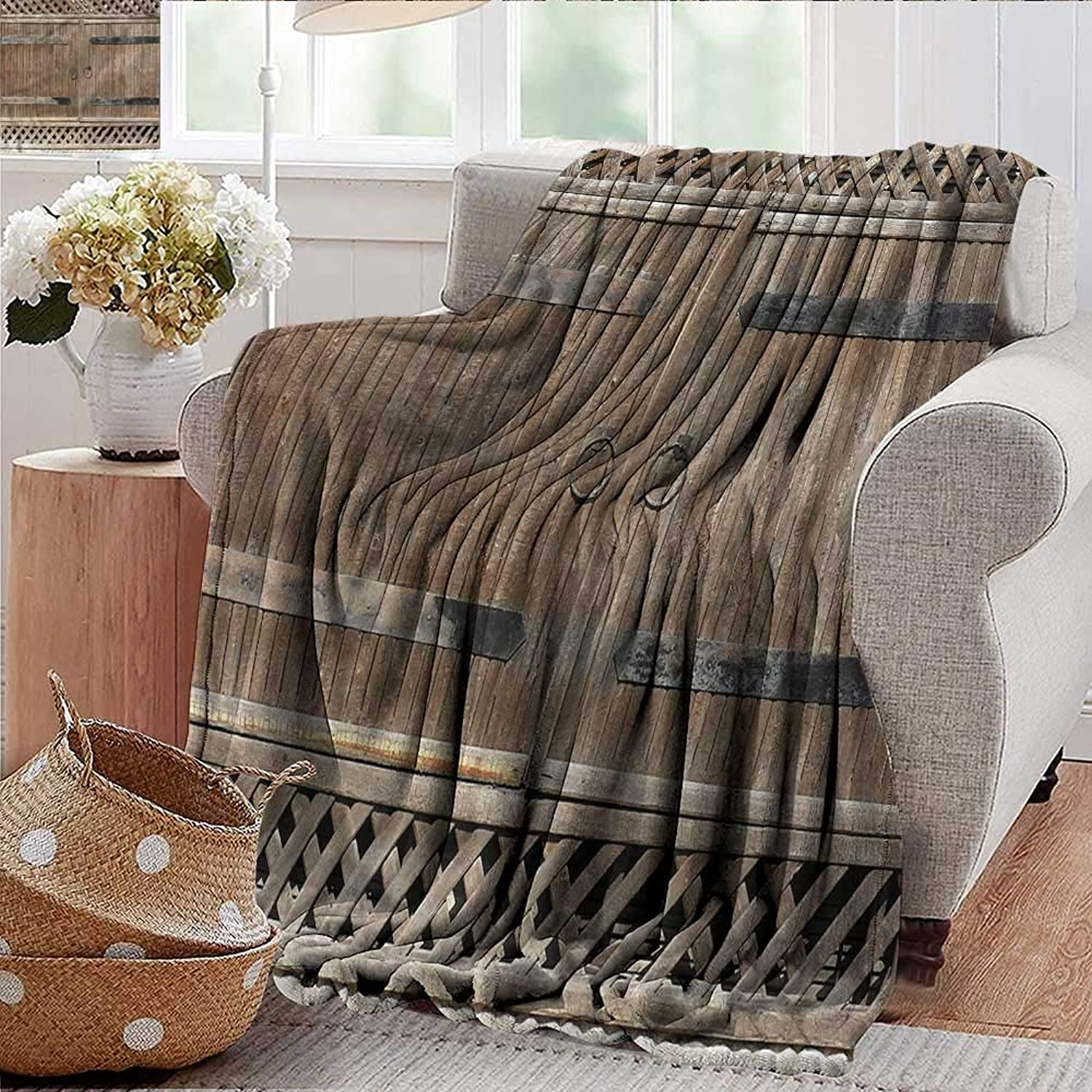 Xaviera Doherty Weighted Blanket for Kids Rustic,Old Wooden Gate with Handle Soft Summer Cooling Lightweight Bed Blanket 50 x60