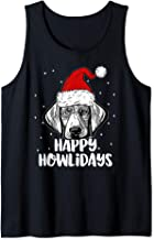 Weimaraner Wearing Christmas Santa Hat   Happy Howlidays Tank Top