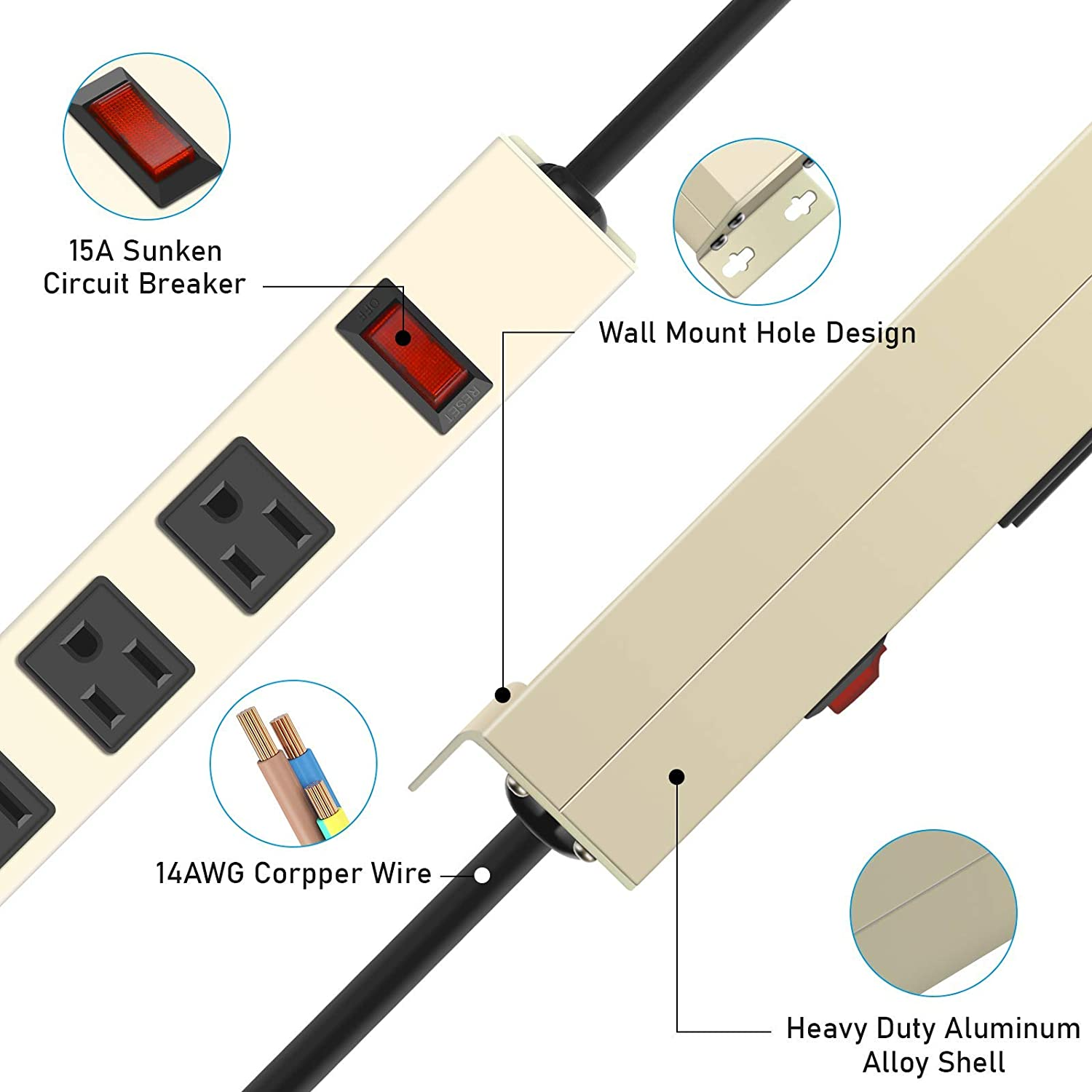 Metal 8 Outlet Power Strip, Mountable Heavy Duty Power Strip, 800J Surge Protector Wall Mount Power Outlet with Switch, 15A 125V 1875W, 6 FT 14AWG Power Cord