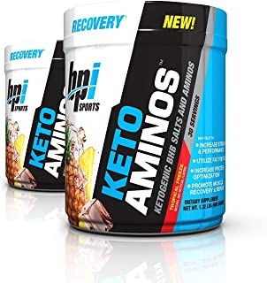 BPI Sports Keto Aminos Ketogenic BHB Salts and Aminos for Muscle Recovery and Repair, 30 Servings Each (2 Pack) (Tropical Freeze)