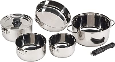 STANSPORT Heavy Duty Stainless Steel Cookware Set - Camping Cookware For Family