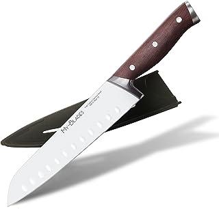 My-Blades® Het professionele santoku mes met houten handvat en extra scherp lemmet van Duits staal (18 cm) – keukenmes – k...
